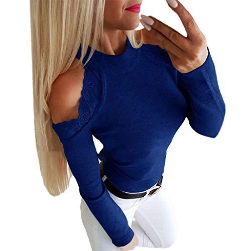 Kviklo Damen Plus Size Kalte Schulter Lace Patchwork Langarm Tops Shirt Bluse Pullover Oversize(4XL(48),Blau)