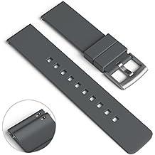 22mm ancho banda de reloj de silicona para Samsung Gear 2 R380, engranaje 2 Neo R381, Gear 2 Live R382, reloj LG G W100 W110, Urbana W150 y ASUS ZenWatch (Gray)