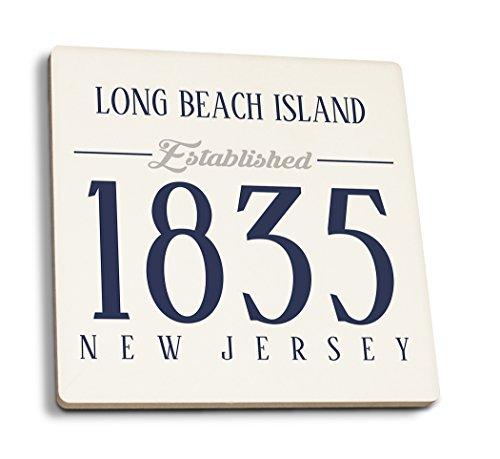 Long Beach Island, New Jersey-etablierten Datum (blau), keramik, mehrfarbig, 4 Coaster Set - Long Beach Island, New Jersey