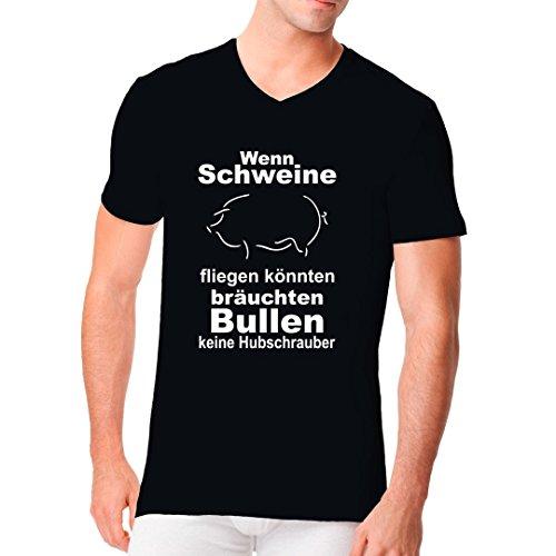 Fun Sprüche Männer V-Neck Shirt - Wenn Schweine fliegen könnten by Im-Shirt Schwarz