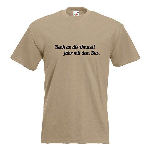 KIWISTAR - Denk an die Umwelt T-Shirt in 15 verschiedenen Farben - Herren Funshirt bedruckt Design Sprüche Spruch Motive Oberteil Baumwolle Print Größe S M L XL XXL Khaki