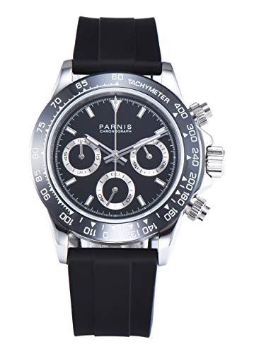 PARNIS Modell 2177 Herrenuhr-Chronograph 40mm Saphirglas Armbanduhr 316L-Edelstahl 5BAR MIYOTA Markenuhrwerk Edelstahl-Armband