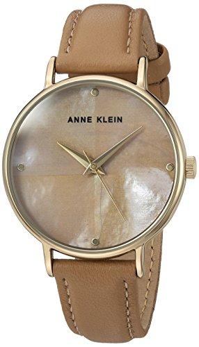 anne-klein-womens-ak-2790tmdt-gold-tone-and-dark-tan-leather-strap-watch