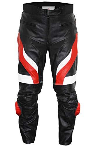 German Wear, Motorradhose Motorrad Biker Racing Lederhose Schwarz/Rot, Größe:52
