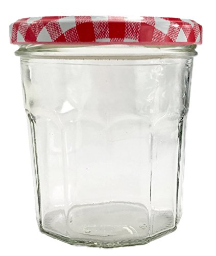 Nutley's 324ml Wide Mouth Clear Glass Jam Jar with Gingham Lid - Red (Pack of 12)