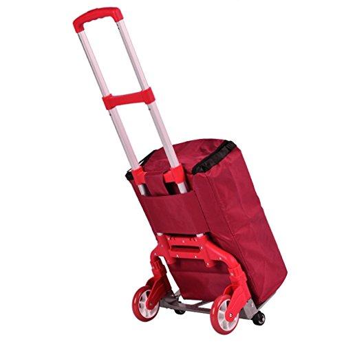 LISH Shopping Baggage Faltbare tragbare PVC-Tasche Aluminium Trolley kann 75 kg Gewicht standhalten (Farbe : Red)