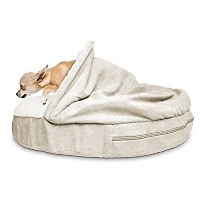 Furhaven Pet Dog Bed   Orthopedic Round Faux Sheepskin Snuggery Burrow Pet Bed for Dogs & Cats, Blue, 18-Inch 9