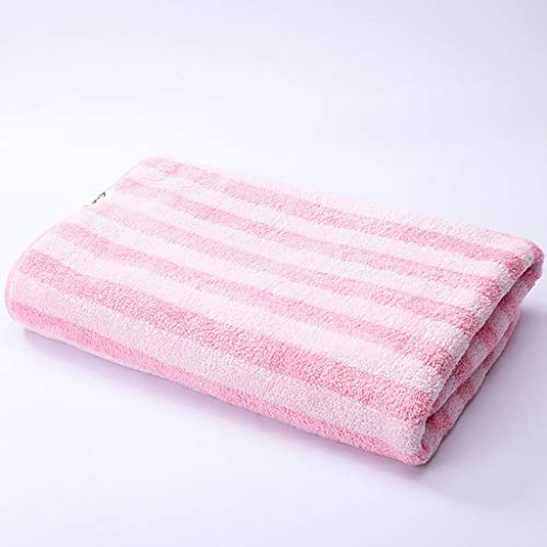 QAWSED Weiches Saugfähiges, Fusselfreies Badetuch for Den Strand Gestreiftes Großes Kindertuch Saugfähiges und strapazierfähiges Handtuch (Color : Pink, Size : 140×70) - Pink Gestreiften Strand Handtuch
