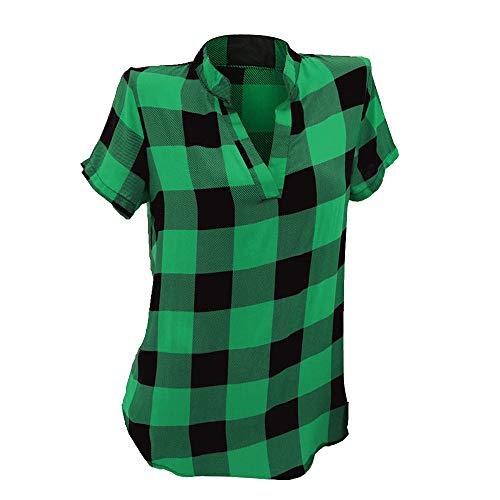 Damen Kurzarm Sommer T Shirt Gitter Gedruckt Shirts Bluse Tee Shirts Casual Tops ()