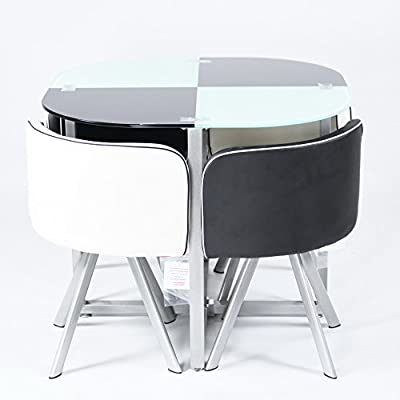 Charles Jacobs Dining Table with Four Chairs Set in Black&White Round Tempered Glass, Space Saver,New 2016 Cushioned Contemporary Design for Extra Comfort, Modern Lounge Furniture - Premium Quality - inexpensive UK light store.
