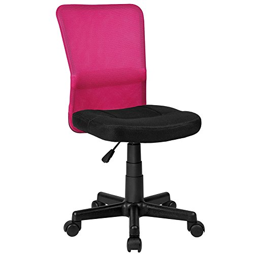 Bakaji sedia scrivania ufficio cameretta girevole in tessuto rete altezza regolabile con ruote (nero fuxia)