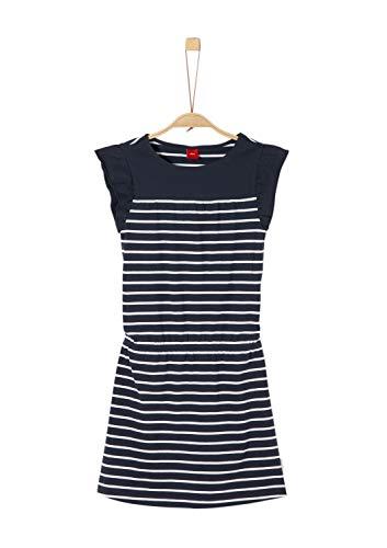 s.Oliver Mädchen 73.906.82.5210 Kleid, Blau (Dark Blue Stripes 58g1), 158 (Herstellergröße: 158/REG) -