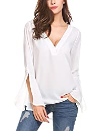 Chigant Damen Chiffon Bluse Shirt Tops in V-Ausschnitt mit Unifarben  Langarmel Fake-Druckknopf 68a224737c