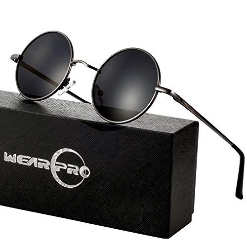 wearpro Runde Sonnenbrille Herren Damen Runde Polarisiert Sonnenbrille Herren Damen Retro Vintage Sonnenbrille für Herren Damen Unisex 3013 (blue, 2.05) (Schwarz Grün)