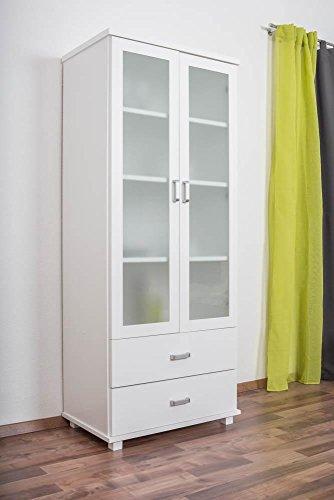 Landhaus-Stil Kiefer-Kleiderschrank massiv Weiß 195x80x50 cm