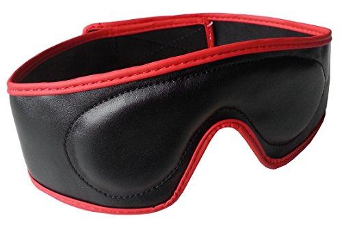 loveorama.de Bondage Leder Augenbinde Augenmaske gepolstert mit Klettverschluss rot schwarz