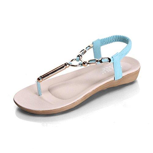 DM&Y 2017 Bohemian perline sandali piatti Sandali infradito sandali Light Blue