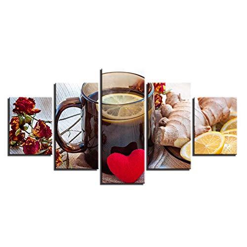 HD Drucke Wohnkultur Ingwer 5 Stücke Wandkunst Zitrone Tee Bilder Blume Leinwand Malerei Für küche wandmalerei-30x40cmx2 30x60cmx2 30x80 cm - Ingwer-raum-spray