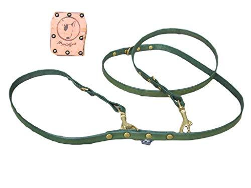 Einstellbare Leine für Hunde in Grünem Leder - YupCollars - Verstellbarer Schultergurt zum Trainieren und Strampeln - Karabiner in vernickelter Legierung oder Messing - Anpassbare Länge und Breite -