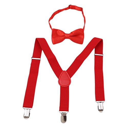 Chinget Kinder Jungen Mädchen Hosenträger Elastisch Einstellbare Braces Clip-On mit Fliege Set (Rot) (Rote Hosenträger Baby)