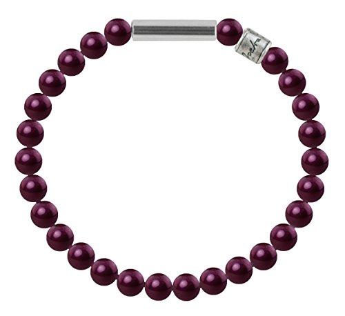 Perlenarmband Mini - mit 6mm Pearls from Swarovski®, Farbe:BlackBerry Pearl, Länge:M- 19cm