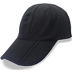 DSstyles - Gorra de béisbol para Hombre y Mujer, con protección UV 50+, Impermeable, de Secado rápido, con Visera Larga, Plegable, para Correr, Deportes al Aire Libre, Plegable, Hombre, V2 Black