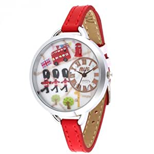 Womens Red Leather 3D Dial 'Mini World' Watch - London Design 974A