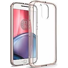 Moto G4 Plus Funda, LK Carcasa Cubierta Case Cover Transparente TPU Parachoque Ultra Fino Shock- Absorción Anti-Arañazos Borrar Espalda - Oro rosa