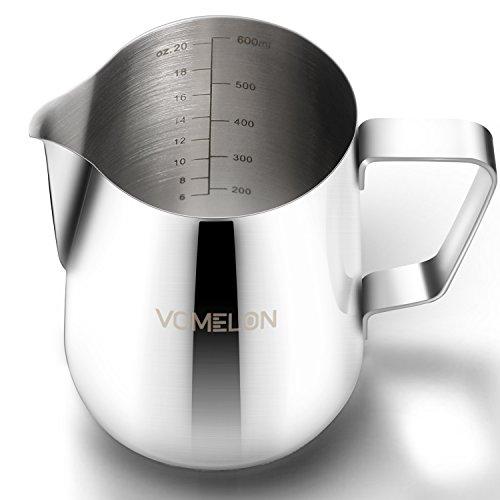 Milchkännchen, 600ml/21 fl.oz. Milchkanne für Espressomaschinen, Milchaufschäumer, Milchschaum, Cappuccino und Latte Art, Silber (11.8 x - Tasse Mikrowelle Milch