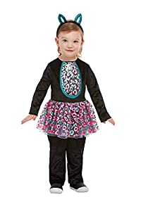 Smiffys 61128T1 - Disfraz de gato para niña, color negro, para niños de 1 a 2 años