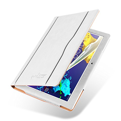 Lenovo Tab 2 A10-30 / A10-70 und Tab 3 10 Plus Hülle | JAMMYLIZARD Ledertasche Flip Case [Business Tasche] Leder Smart Cover Lederhülle, Weiß & Honig