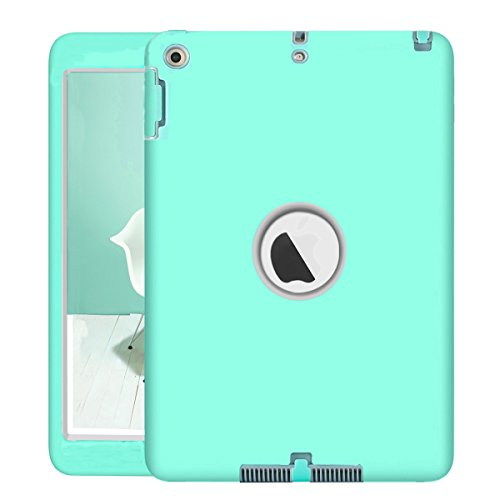 Neue iPad 24,6cm 2018/2017Fall, uzer (Heavy Duty stoßfest anti-rutsch Silikon High Impact Resistant Hybrid Drei Schicht Hard PC + Silikon Armor Schutzhülle für neue iPad 24,6cm 2017/2018, Aqua+Gray - Kakao-winkel