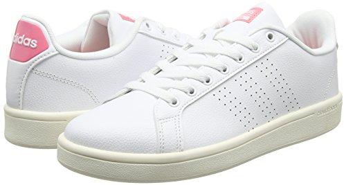 adidas Cloudfoam Advantage, Sneakers Basses Femme, Blanc (Ftwbla/Ftwbla/Plamet), 36 EU