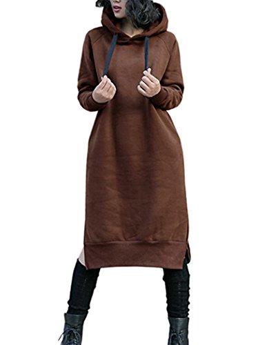 Nutexrol Damen Winter Hoodie Kapuzenpullover Lang Kapuzenjacke Sweatjacke Übergröße Kleider Sweatshirt Warm Outwear mit Fleece-Innenseite Braun EU 36-38 -