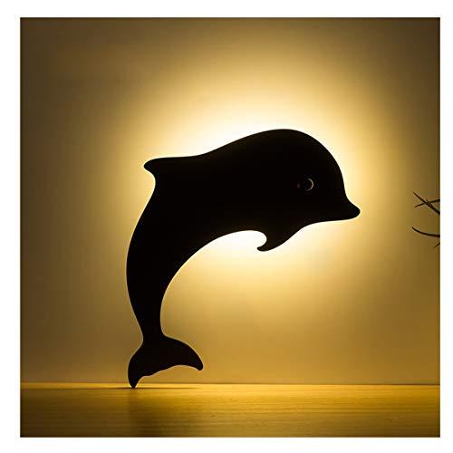 YLET Schattenbild-Nachtlicht führte Schlafzimmer-Nachttischlampen-Atmosphären-Projektions-Lampen-Wand-Dekorations-Geschenk-Lampe,Dolphin-OneSize - Dolphin Schublade