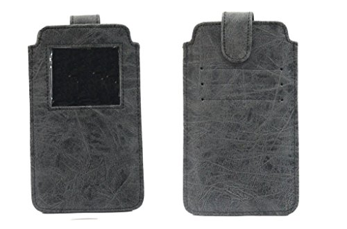 Jo Jo A10 Classic Leather Carry Case Pouch Wallet S View for Micromax Canvas Duet AE90 Grey