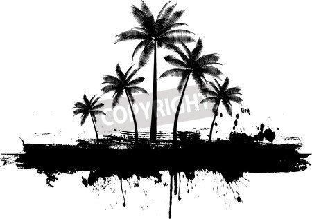 "Leinwand-Bild 100 x 70 cm: ""Grunge palm trees background"", Bild auf Leinwand"