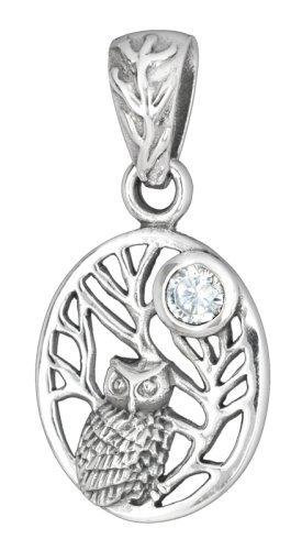 Wunderschöne echt Sterling Silber Eule UHU mit Zirkonia Kautz Eulchen Halskette Kette Anhänger 925 Pantercats
