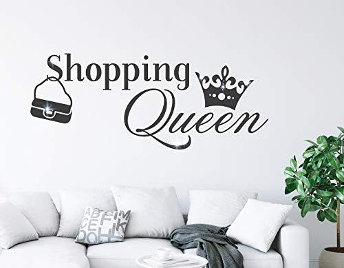 tjapalo® Wandtattoo Shopping Queen Wandsticker Frauen Wandaufkleber Wandtattoo Wohnzimmer Spruch Wandtattoo jugendzimmer Mädchen mit Kirstallen, Farbe: dunkelgrau, Größe: B100xH40cm