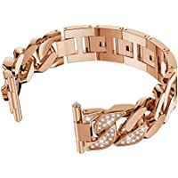 Hemobllo Banda de Reloj de Acero Inoxidable con Banda de reemplazo de Diamante para Fitbit Versa (Oro Rosa)