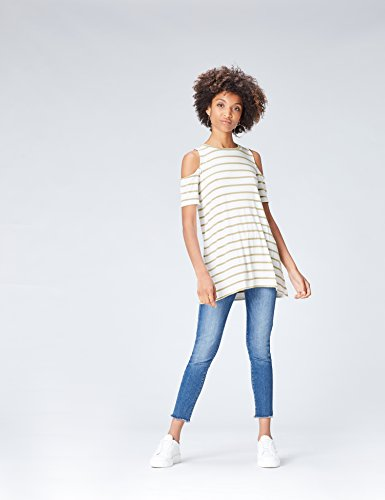 FIND Damen Cold-Shoulder-Oberteil mit Streifen Grün (Khaki/White)