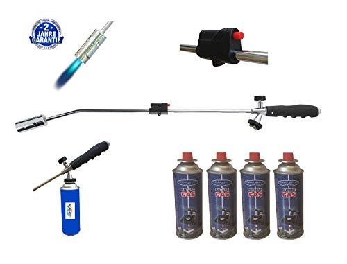 Unkrautbrenner Gasbrenner + 4 Gasflaschen Unkrautvernichter Brenner Abflammgerät Unkrautreiniger -