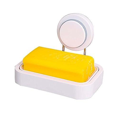puissante Ventouse Porte-savon de stockage Organisateur de boîte à fixation murale Plastique ABS Savon Saver Plateau de salle de bain de baignoire et de douche pour évier de cuisine–85–, rectangulaire