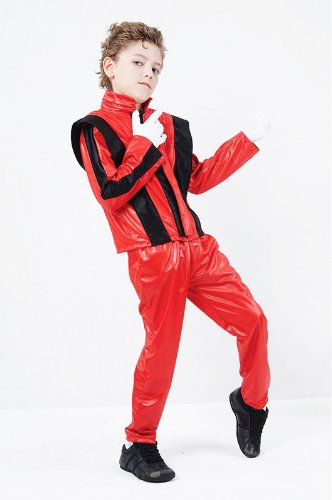 Michael Für Halloween Jackson Kostüme (Childrens Superstar Fancy Dress Costume Michael Jackson Thriller Outfit 7-10)