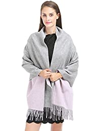 "Saferin Extra Large 78""x28"" Women Winter Warm Super Soft Plaid Solid Cashmere and Lambwool Blend Pashmina Wrap Shawl Scarf"
