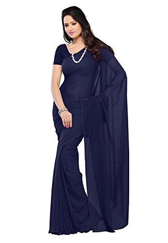 Modential Chiffon Silk Saree With Blouse Piece (Plain Nevyblue_Nevyblue_Free Size)