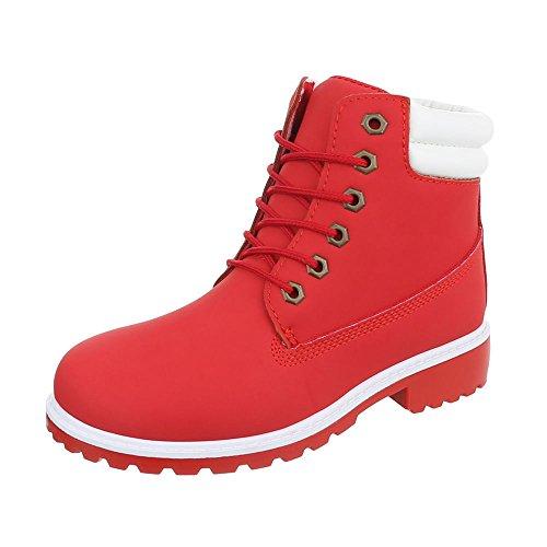Ital-Design Schnürstiefeletten Damen-Schuhe Combat Boots Blockabsatz Schnürer Schnürsenkel -
