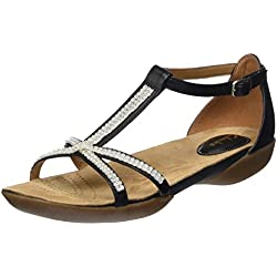 Clarks Women's Black Leather Fashion Sandals - 4.5 UK/India (37.5 EU)