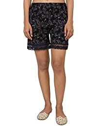 9teenAGAIN Women's Hosiery Paisley Printed Short(Black & Navy Blue)