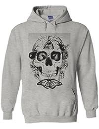 Butterfly Skull Third Eye illuminati Novelty White Femme Homme Men Women Unisex Sweat à Capuche Hooded Sweatshirt Hoodie